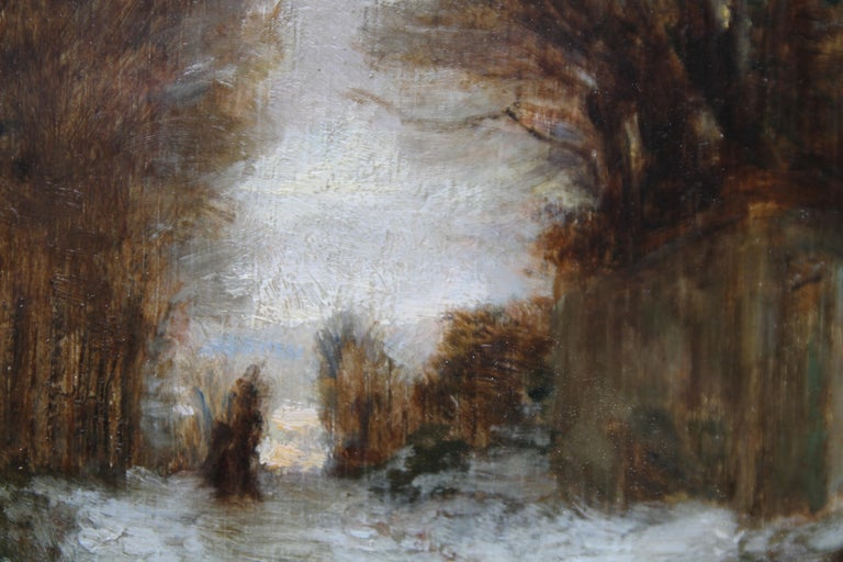 Snow at Fontainebleau - French art 19thC Impressionist landscape oil painting   For Sale 1