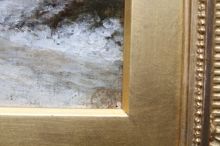 Snow at Fontainebleau - French art 19thC Impressionist landscape oil painting   For Sale 4