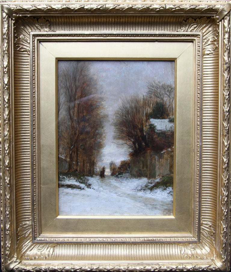 Pierre Edouard Frere Landscape Painting - Snow at Fontainebleau - French art 19thC Impressionist landscape oil painting