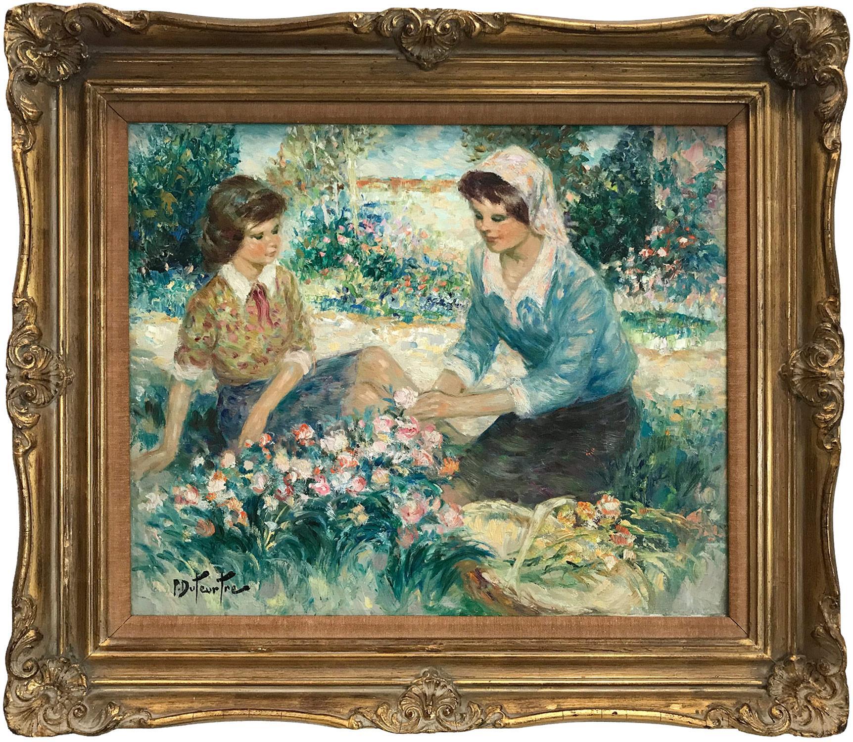 """Au Jardin"" 20th Century French Oil Painting Figures in a Garden Landscape Scene"