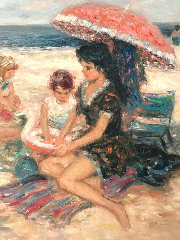 A stunning oil painting depicting figures at the beach in the 20th Century. Duteurtre was known for his charming intimate figurative scenes portraying life in Europe. He was active, picking up subjects from the markets, beaches, parks, restaurants,