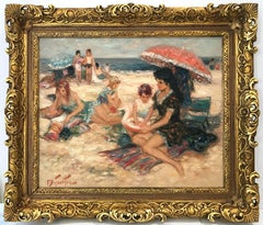 """""""Maternity A La Place"""" 20th Century French Oil Painting Beach Scene With Figures"""