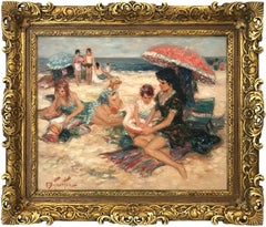 """Maternity À La Plage"" 20th Century French Oil Painting Beach Scene With Figures"