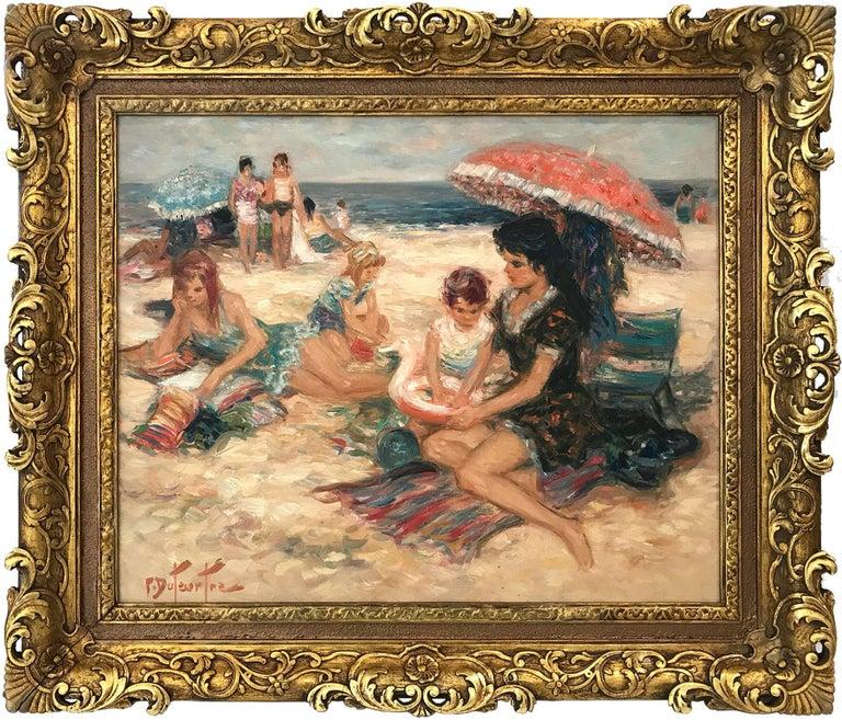 "Pierre Eugène Duteurtre Figurative Painting - ""Maternity À La Plage"" 20th Century French Oil Painting Beach Scene With Figures"