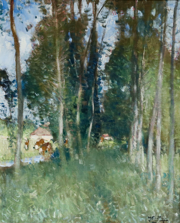 Automne - 19th Century Oil, Trees by River in Landscape - Pierre Eugene Montezin