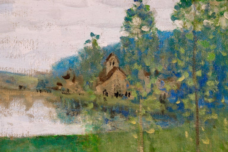 By the Lake - 19th Century Oil, Figure & Cow in Landscape by Pierre Montezin For Sale 5