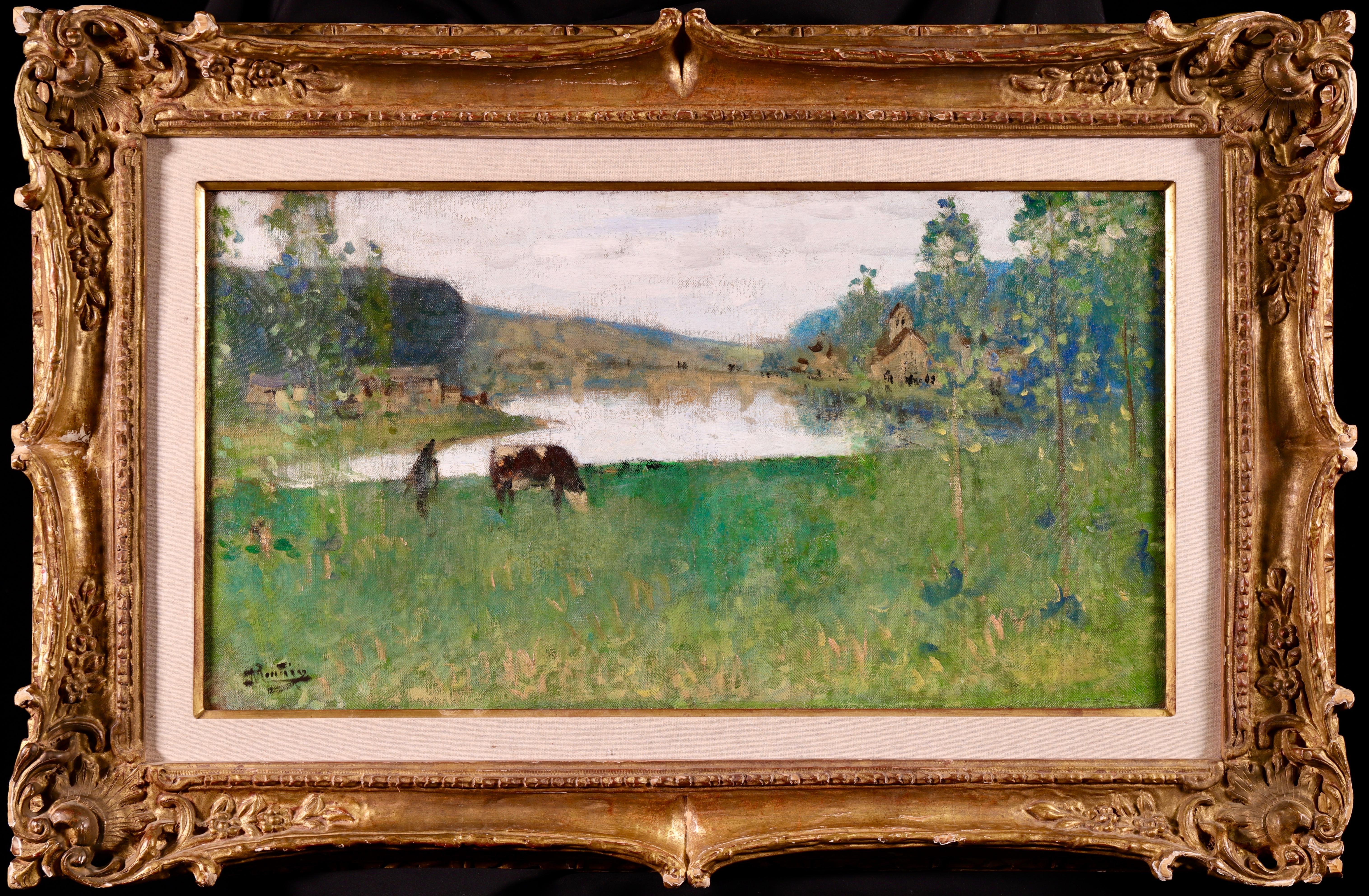 By the Lake - 19th Century Oil, Figure & Cow in Landscape by Pierre Montezin
