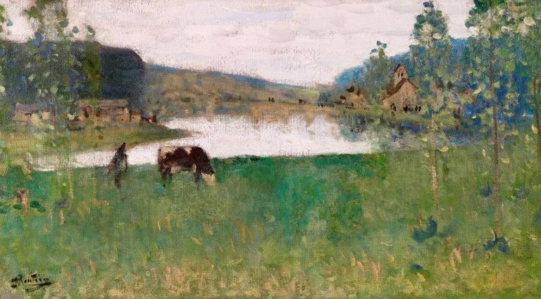 By the Lake - 19th Century Oil, Figure & Cow in Landscape by Pierre Montezin - Impressionist Painting by Pierre Eugene Montezin