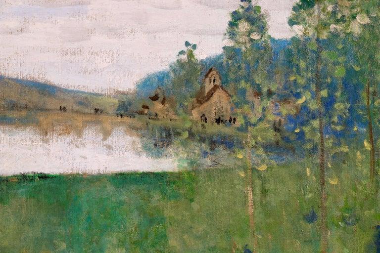 By the Lake - 19th Century Oil, Figure & Cow in Landscape by Pierre Montezin - Gray Landscape Painting by Pierre Eugene Montezin