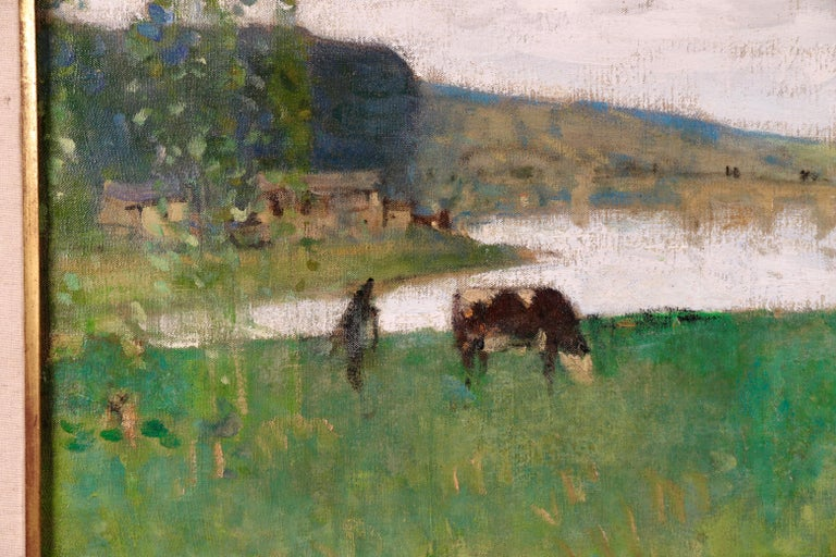 By the Lake - 19th Century Oil, Figure & Cow in Landscape by Pierre Montezin For Sale 1