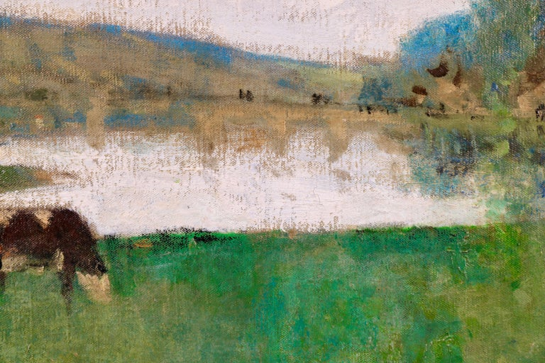 By the Lake - 19th Century Oil, Figure & Cow in Landscape by Pierre Montezin For Sale 3