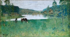 By the Lake - 19th Century Oil, Figure & Cow in Landscape by Pierre Montezin