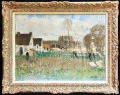 Lavandieres - L'Ile de Fedrun - Post Impressionist Oil, Landscape - P E Montezin