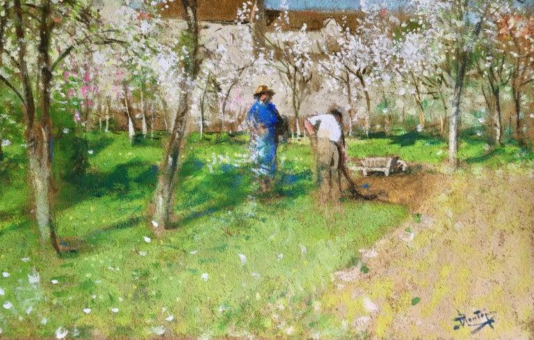 Les Jardiniers - Post Impressionist Oil, Figures in Landscape by P E Montezin For Sale 6