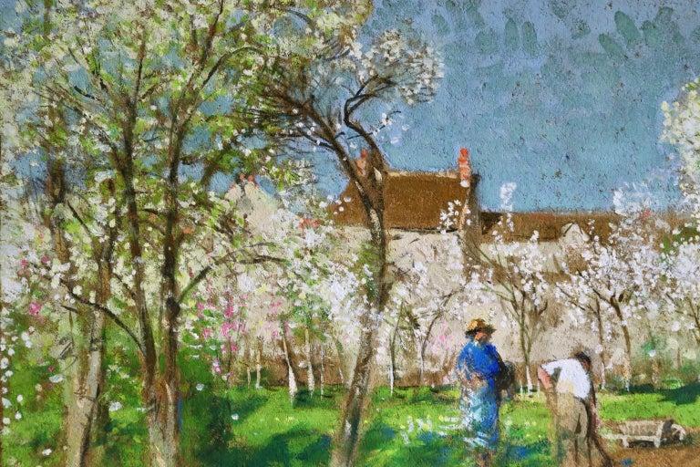 Les Jardiniers - Post Impressionist Oil, Figures in Landscape by P E Montezin For Sale 7