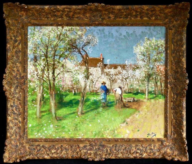Les Jardiniers - Post Impressionist Oil, Figures in Landscape by P E Montezin - Painting by Pierre Eugene Montezin