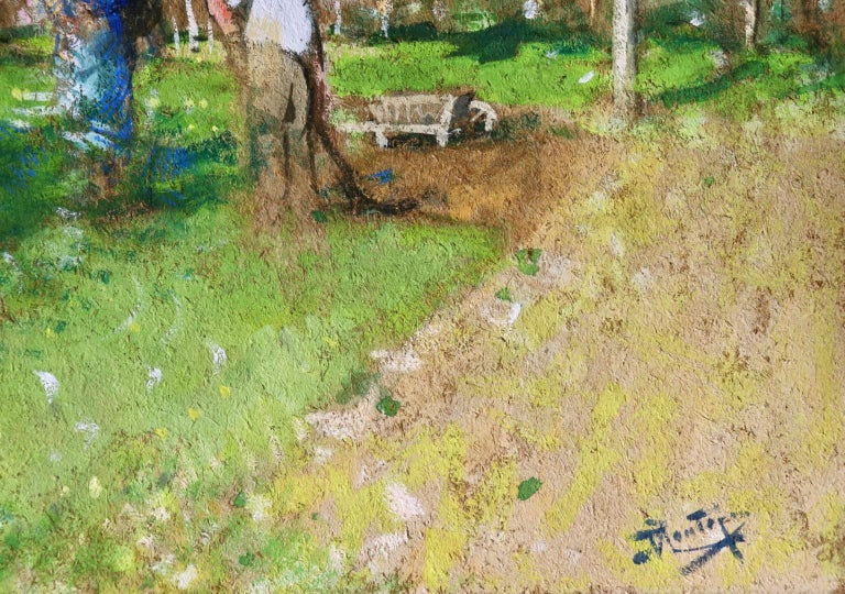 Les Jardiniers - Post Impressionist Oil, Figures in Landscape by P E Montezin - Brown Landscape Painting by Pierre Eugene Montezin