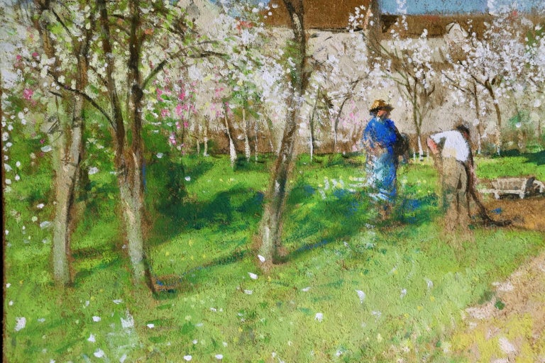 Les Jardiniers - Post Impressionist Oil, Figures in Landscape by P E Montezin For Sale 1