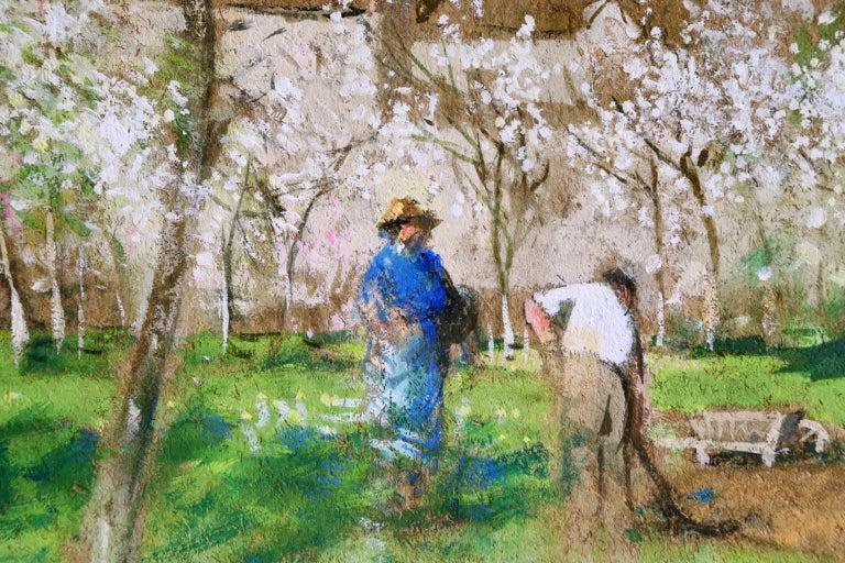 Les Jardiniers - Post Impressionist Oil, Figures in Landscape by P E Montezin For Sale 2