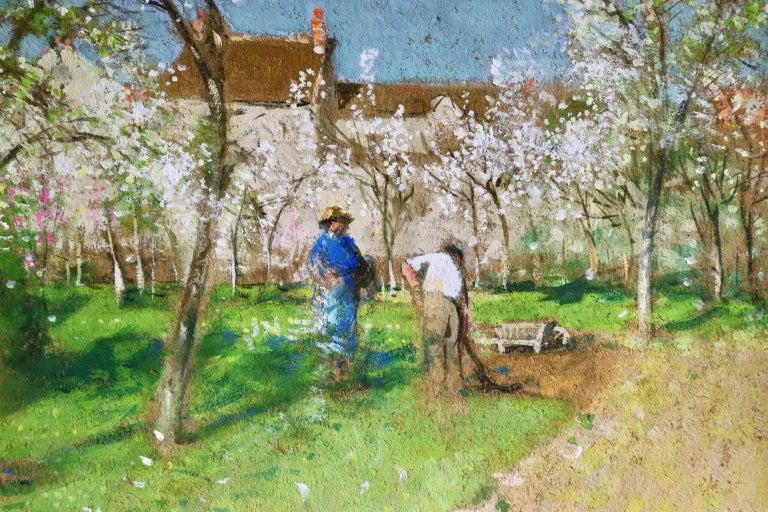 Les Jardiniers - Post Impressionist Oil, Figures in Landscape by P E Montezin For Sale 3