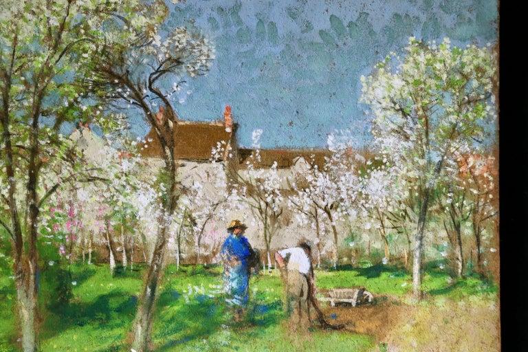 Les Jardiniers - Post Impressionist Oil, Figures in Landscape by P E Montezin For Sale 4