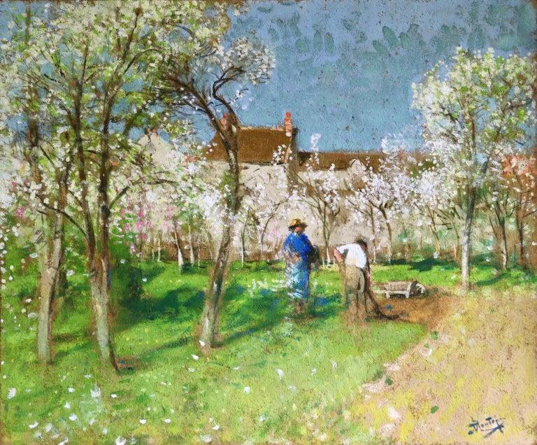 Pierre Eugene Montezin Landscape Painting - Les Jardiniers - Post Impressionist Oil, Figures in Landscape by P E Montezin