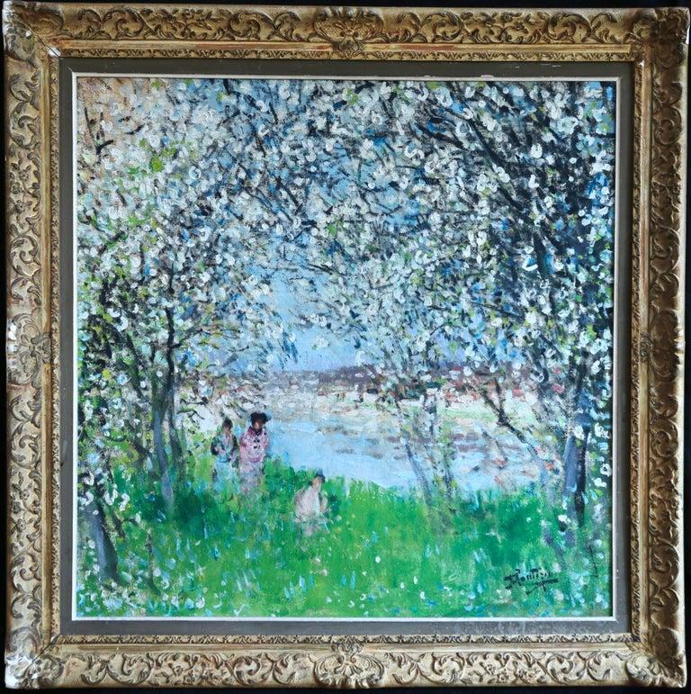Printemps - Impressionist Oil, Figures in Spring Landscape by P E Montezin - Painting by Pierre Eugene Montezin