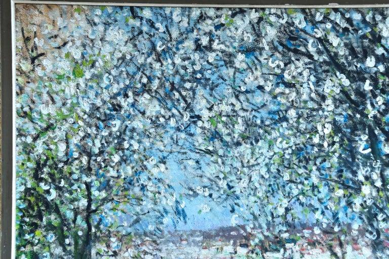 Printemps - Impressionist Oil, Figures in Spring Landscape by P E Montezin For Sale 1