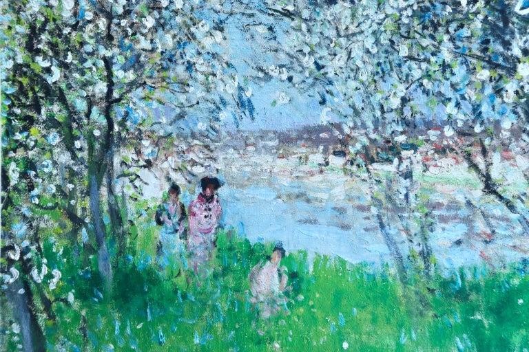 Printemps - Impressionist Oil, Figures in Spring Landscape by P E Montezin For Sale 2