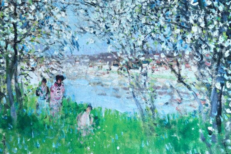 Printemps - Impressionist Oil, Figures in Spring Landscape by P E Montezin For Sale 3