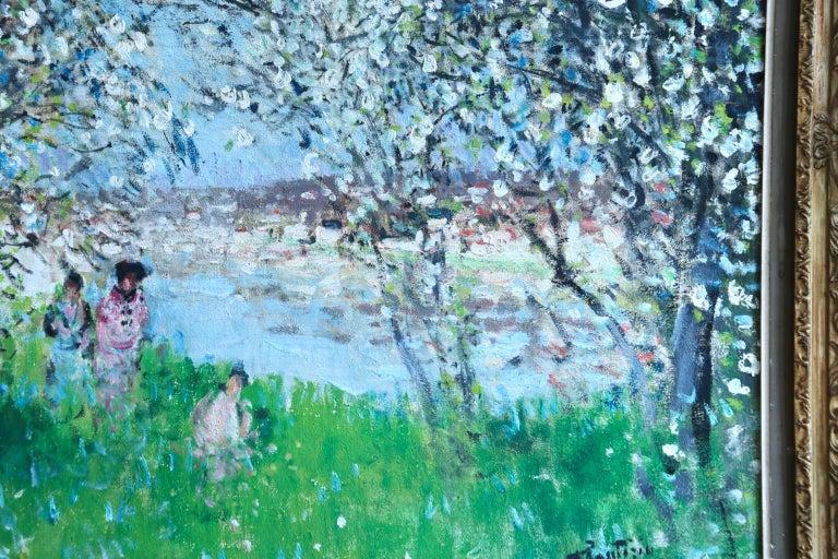 Printemps - Impressionist Oil, Figures in Spring Landscape by P E Montezin For Sale 4