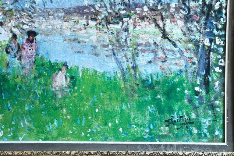 Printemps - Impressionist Oil, Figures in Spring Landscape by P E Montezin For Sale 5