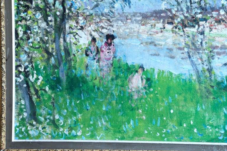 Printemps - Impressionist Oil, Figures in Spring Landscape by P E Montezin For Sale 6