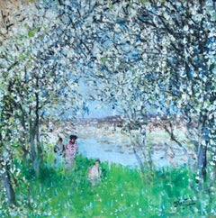 Printemps - Impressionist Oil, Figures in Spring Landscape by P E Montezin