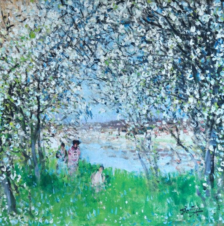 Pierre Eugene Montezin Figurative Painting - Printemps - Impressionist Oil, Figures in Spring Landscape by P E Montezin