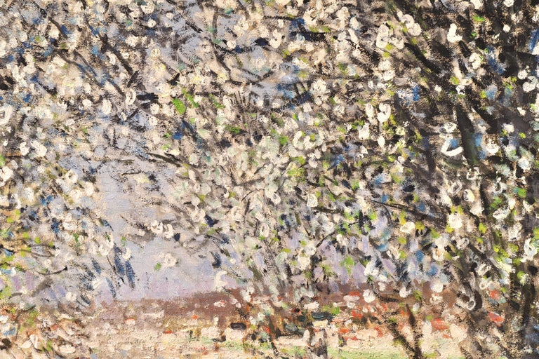 Printemps - Impressionist Oil, Figures under Blossom Trees by Pierre Montezin - Brown Landscape Painting by Pierre Eugene Montezin