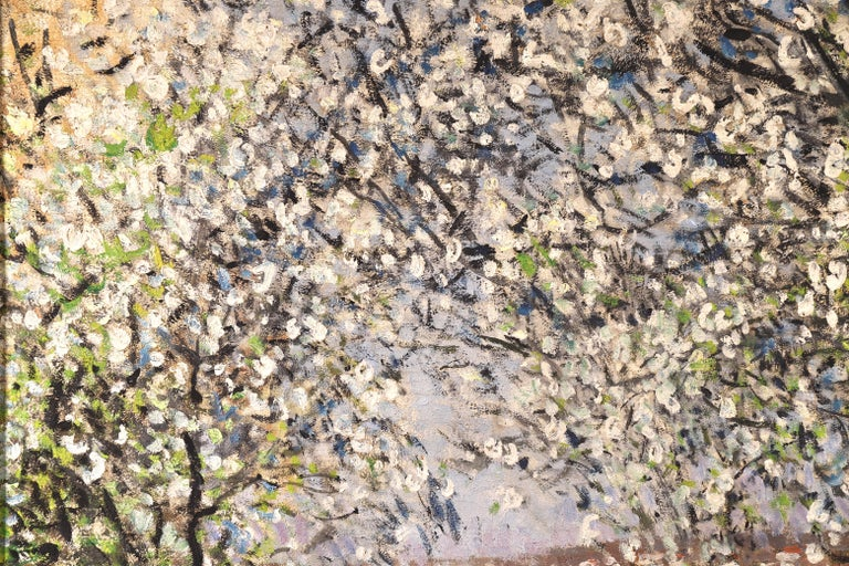 Printemps - Impressionist Oil, Figures under Blossom Trees by Pierre Montezin For Sale 1