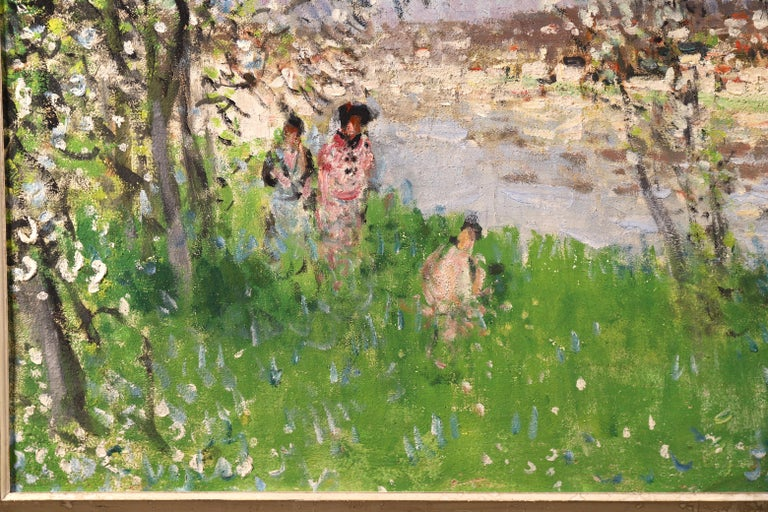 Printemps - Impressionist Oil, Figures under Blossom Trees by Pierre Montezin For Sale 2