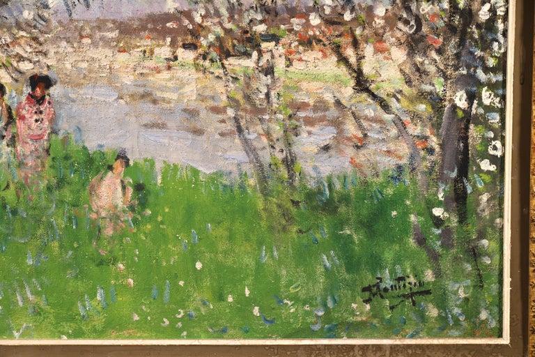Printemps - Impressionist Oil, Figures under Blossom Trees by Pierre Montezin For Sale 3