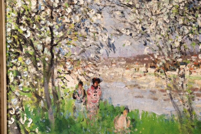 Printemps - Impressionist Oil, Figures under Blossom Trees by Pierre Montezin For Sale 4