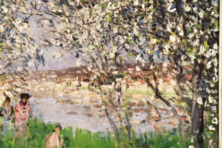 Printemps - Impressionist Oil, Figures under Blossom Trees by Pierre Montezin For Sale 5