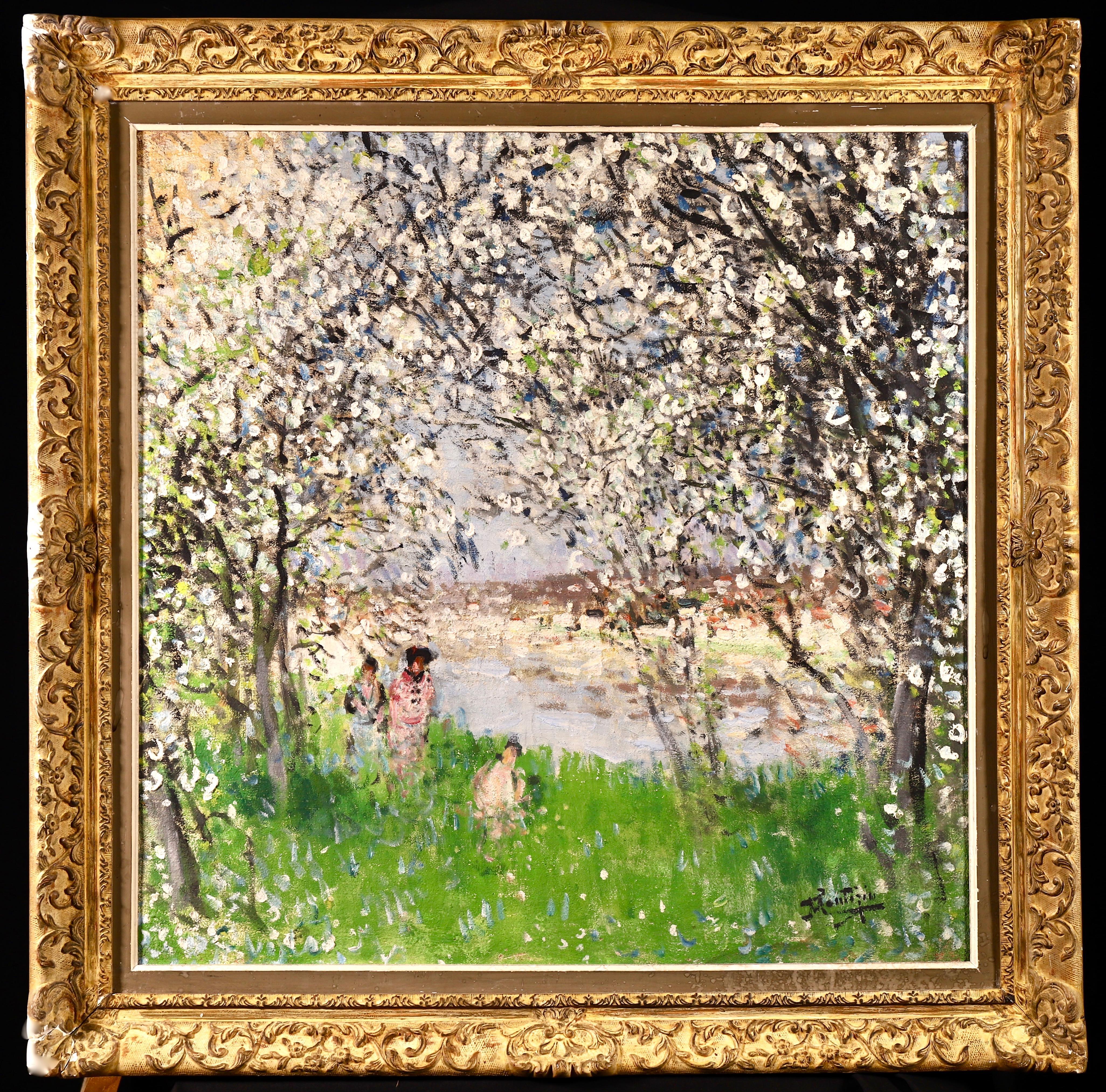 Printemps - Impressionist Oil, Figures under Blossom Trees by Pierre Montezin