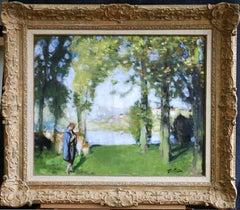 Promenade au bord du Lac - 20th Century Oil, Figure in Landscape by P E Montezin