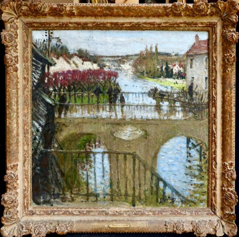 Provencher's Mill - Moret-Sur-Loing - Impressionist Oil, River - Pierre Montezin - Painting by Pierre Eugene Montezin