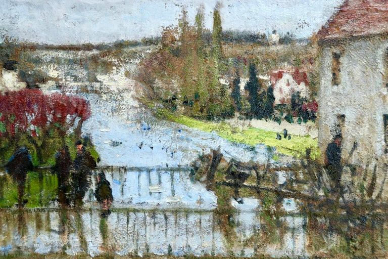 Provencher's Mill - Moret-Sur-Loing - Impressionist Oil, River - Pierre Montezin - Gray Landscape Painting by Pierre Eugene Montezin