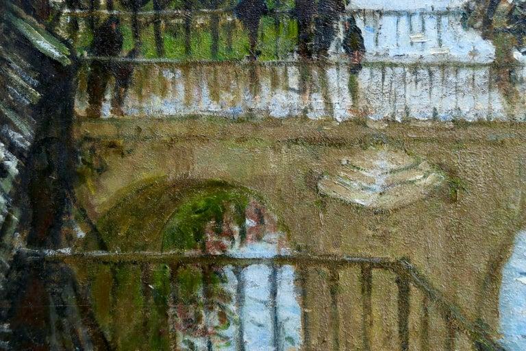 Provencher's Mill - Moret-Sur-Loing - Impressionist Oil, River - Pierre Montezin For Sale 1