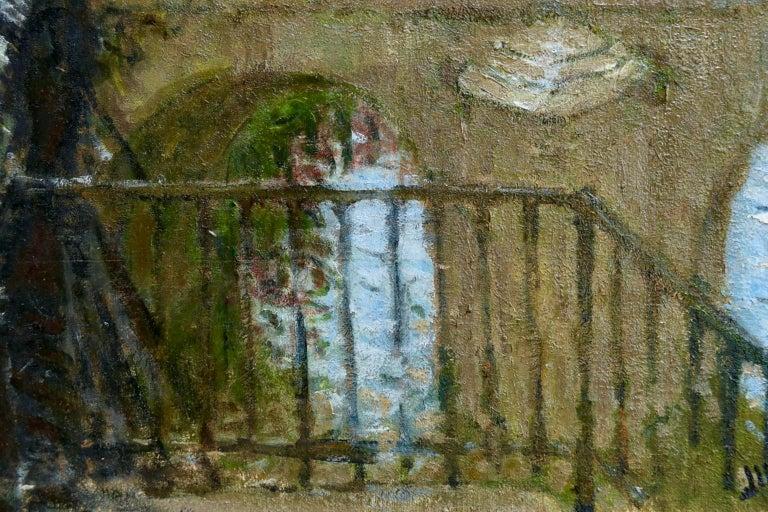 Provencher's Mill - Moret-Sur-Loing - Impressionist Oil, River - Pierre Montezin For Sale 2
