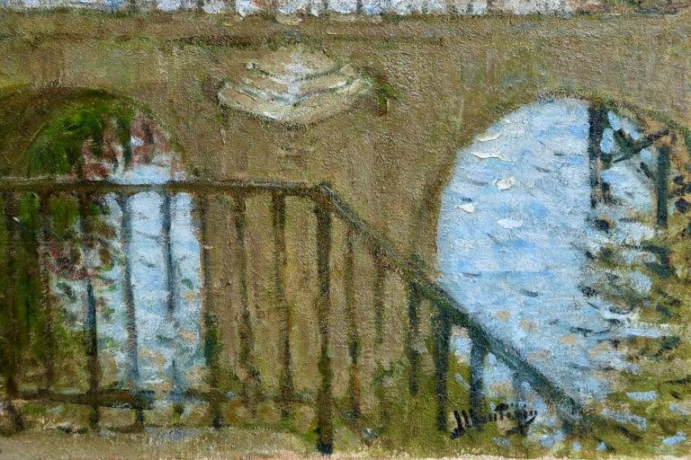 Provencher's Mill - Moret-Sur-Loing - Impressionist Oil, River - Pierre Montezin For Sale 3