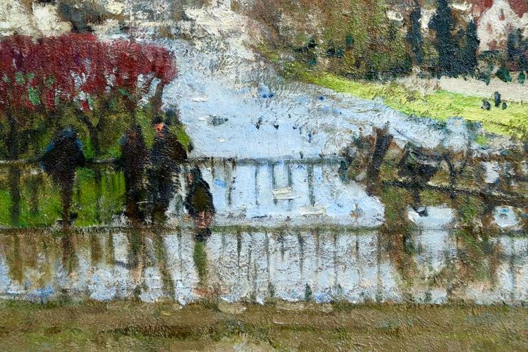 Provencher's Mill - Moret-Sur-Loing - Impressionist Oil, River - Pierre Montezin For Sale 4