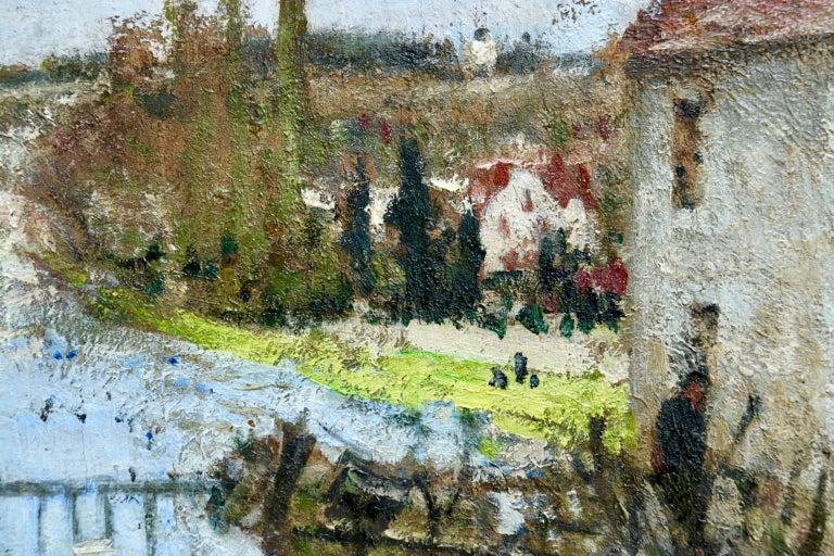 Provencher's Mill - Moret-Sur-Loing - Impressionist Oil, River - Pierre Montezin For Sale 5